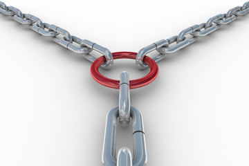 Chain fastened by a red ring. 3D image