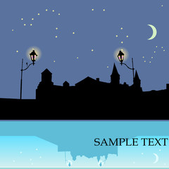 Night castle, background with sample text