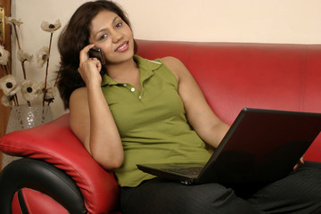 smiling woman working from home