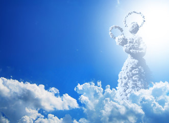 Mary. Mother of jesus. Clouds concept