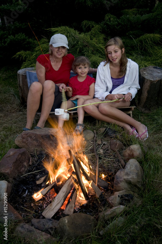 Family roasting marshmallows