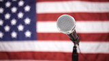 American flag and microphone, dolly shot