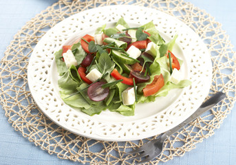 vegetable salad and cheese over blue background
