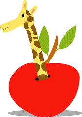 Giraffe Coming Out Of An Apple