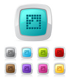 Vector glossy button set in various color - pixel image poster