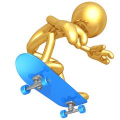 Gold Guy Skateboarding