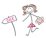 Sale girl - loving shopping! Doodle vector character. poster