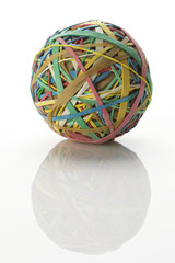 Isolated colourful rubber band ball