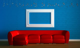 Red couch with empty frame in blue minimalist interior poster
