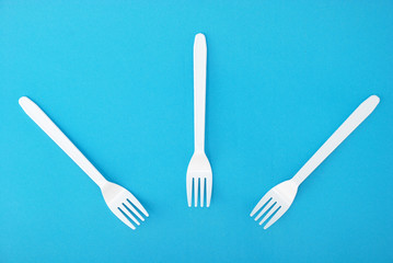 White disposable dishes, fork