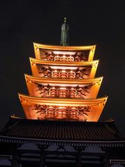 Pagode des Sensoji Tempels bei nacht