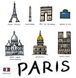 Lots de dessins vectoriels des monuments de Paris