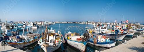 Leinwanddruck Bild harbor with fishing boats