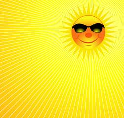 Happy Smiling Sun On Burst Background