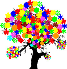 tree with color flower illustration