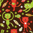 roleta: seamless  pattern with cartoon cats and fish