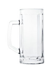 Tall empty beer mug isolated on white