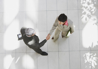 Overhead view of businessman and businesswoman shaking hands