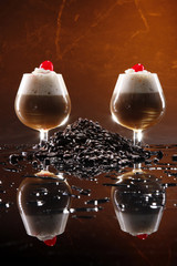 Irish coffee cocktail and coffee grains