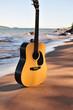 Seaside Guitar In Filtered Sunlight