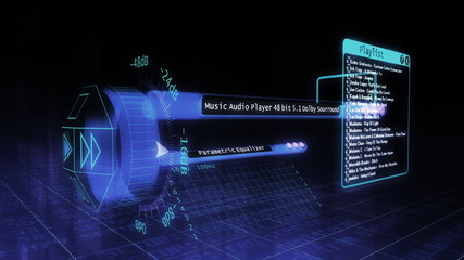 3d futuristic audio player layout