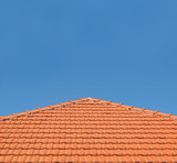 Tiled Rooftop on Blue Sky poster