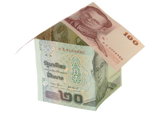 House made of Thai Baht Banknotes