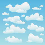 A blue sky full of fluffy cartoon clouds. poster