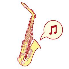 Stylized saxophone illusration