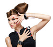 fashion glamour girl with creative hairstyle