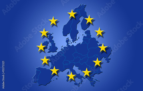 Drapeau sur carte d'Europe