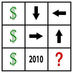 money speculation illustration on tic tac toe grid