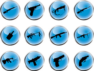 Guns. Set of 12 round vector buttons for web
