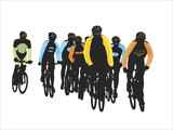 group of bicyclists poster