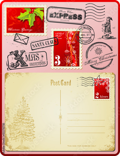 Christmas postage set with vintage postcards and stamps
