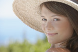 Closeup of woman with straw hat