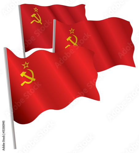 USSR 3d flag. Vector illustration. Isolated on white.