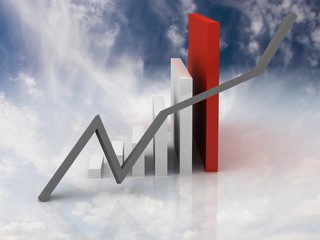 business graph in a glossy skyed background
