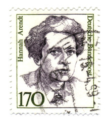 1988: A stamp printed in Germany shows Hannah Arendt