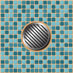 Pool floor tiles with metallic round drain