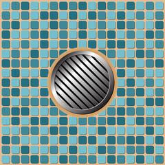 Pool floor tiles with metallic round drain
