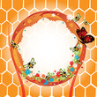 Frame with bees and honeycomb