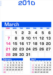 March 2010 - Wall Calendar
