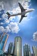 Leinwanddruck Bild - airplane and cloud