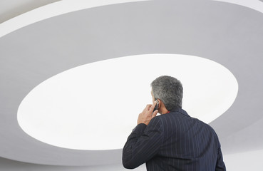 Rear view of businessman talking on cell phone with ceiling light