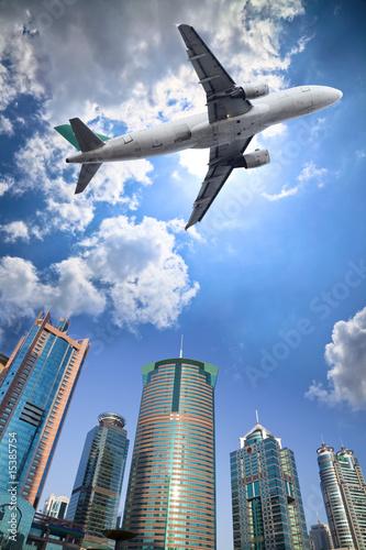 Leinwanddruck Bild airplane and cloud