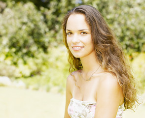 Teenage girl outdoors smiling