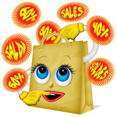 Sacchetto Saldi-Sales Bag Cartoon-Sachet Soldes 2