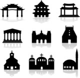 temples, shrines, churches and mosque silhouettes