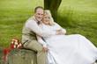 Hochzeitspaar im Grünem